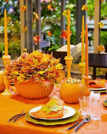 Pumpkin Table Setting For Fall - Nazmiyal