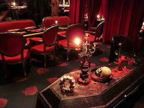 Red and Black Vampire Theme Halloween Table Setting by Nazmiyal