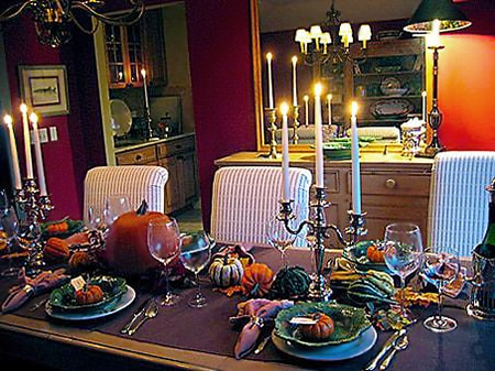 Large Table Setting For Fall - Nazmiyal