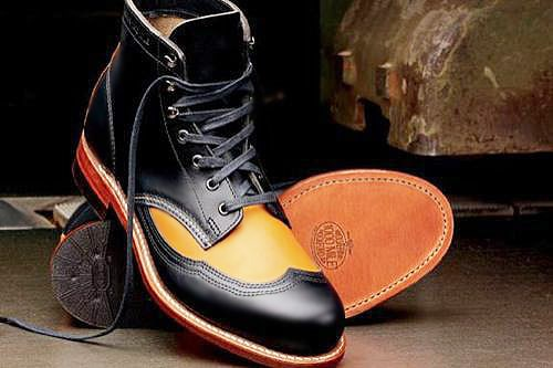 Wolverine Two Tone Wingtip Boots for Men Nazmiyal