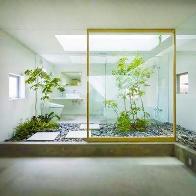 Bathroom Interior Design With Indoor Garden Space by Nazmiyal