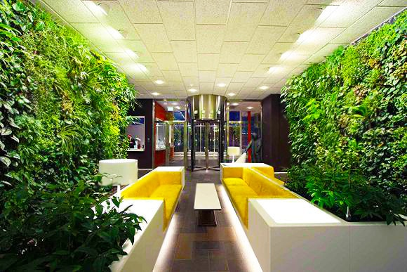 Commercial Interior Design with indoor Garden Spaces by Nazmiyal