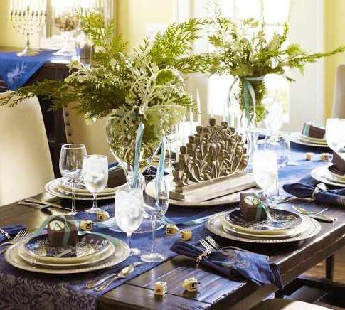Modern Hanukkah Table Setting Namiyal