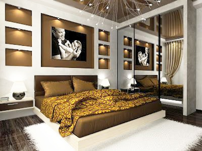 Ochre and Brown Color Bed Room Interior Design Nazmiyal