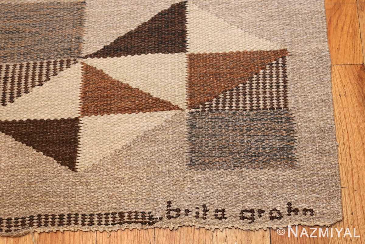 brita grahn vintage swedish rug 45522 signature Nazmiyal