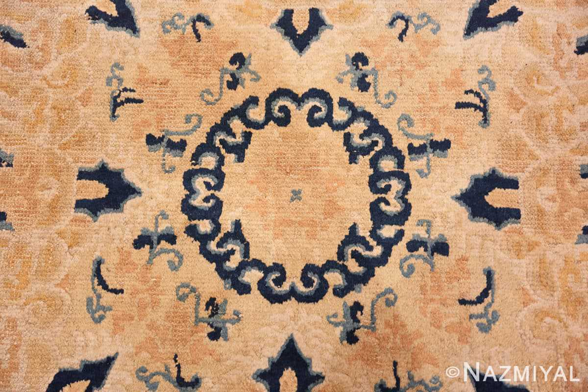 Close-up Small Scatter Square size gold Antique Chinese rug 682 by Nazmiyal