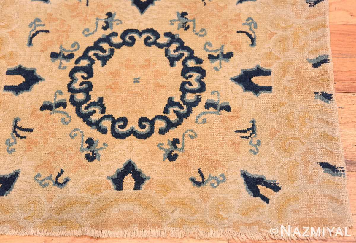 Corner Small Scatter Square size gold Antique Chinese rug 682 by Nazmiyal