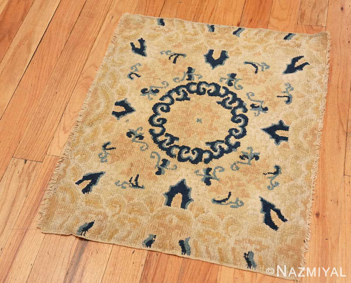 Full Small Scatter Square size gold Antique Chinese rug 682 by Nazmiyal