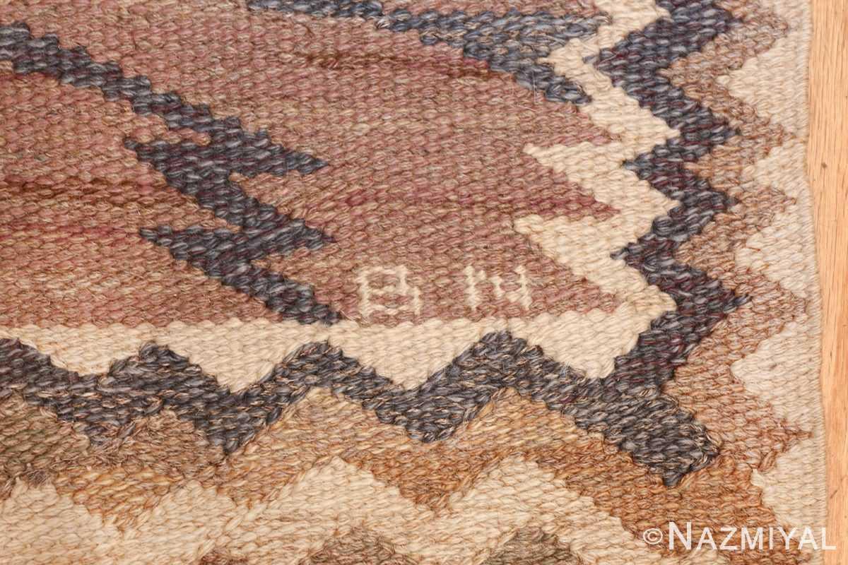vintage marta maas fjetterstrom swedish rug 45513 initials Nazmiyal