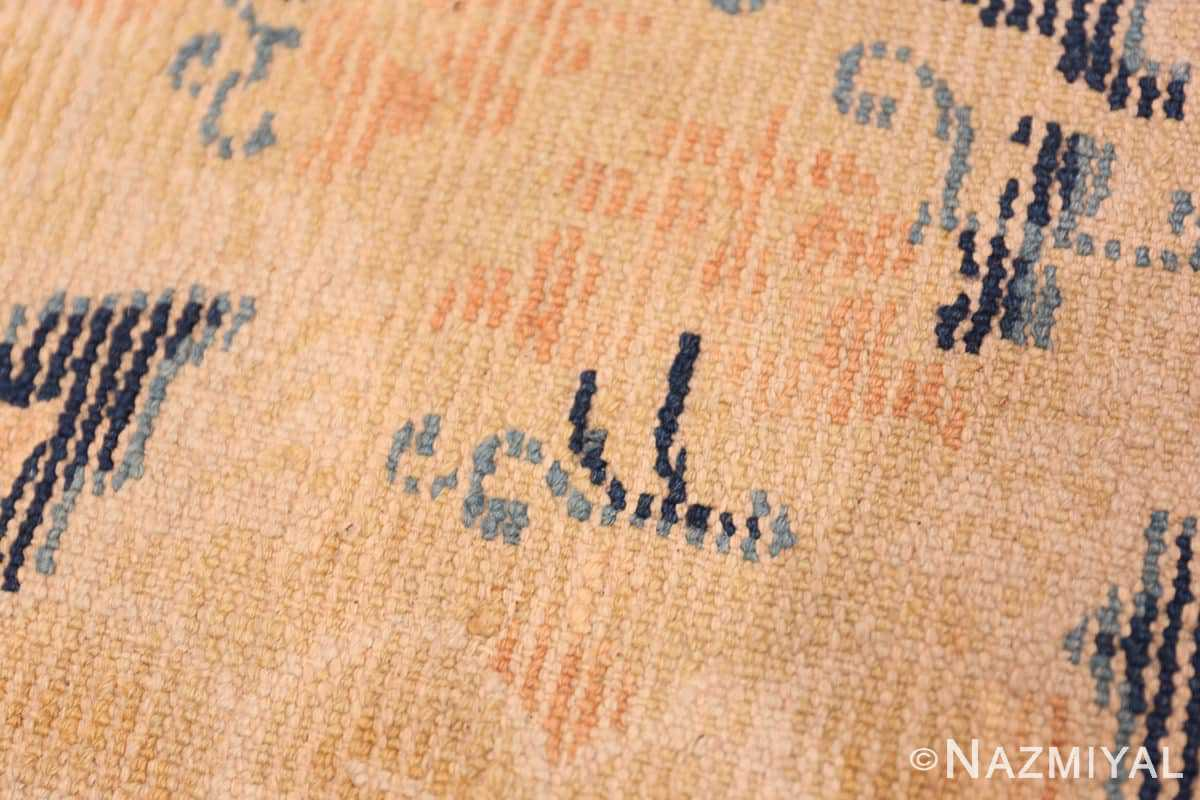 Weave detail Small Scatter Square size gold Antique Chinese rug 682 by Nazmiyal