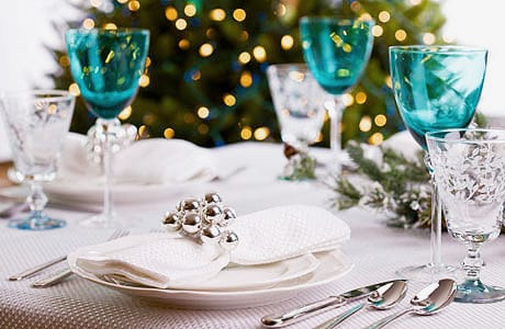 White and Aqua Colored Winter Wonderland Table Setting - Namziyal