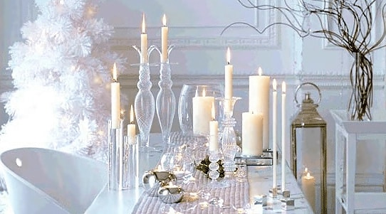 White Winter Wonderland Table Setting - Nazmiyal