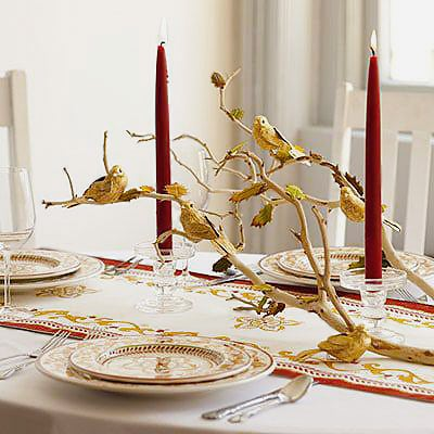 Winter Wonderland Gold Birds Table Setting - Nazmiyal