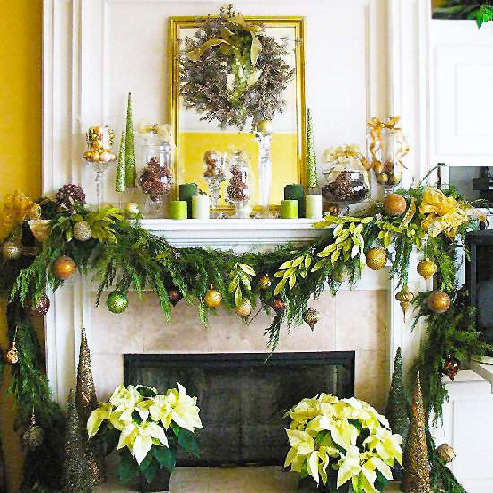 Christmas Fireplace Holiday Decor by Nazmiyal