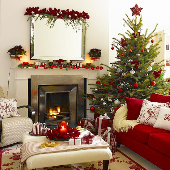 Christmas Living Room Holiday Interior Design With Fireplace and Tree by nazmiyal