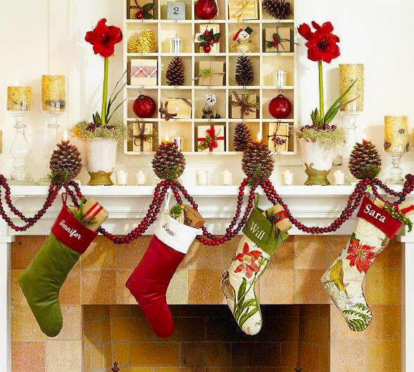 Holiday Christmas Stockings Fireplace Decor by Nazmiyal