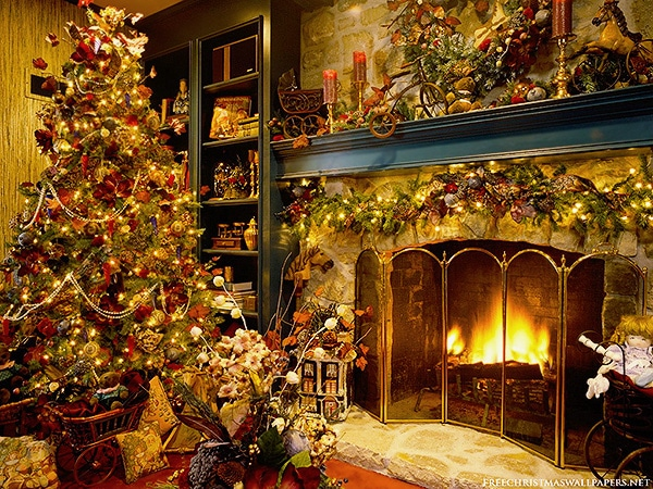 Holiday Interior Design - Christmas Tree Living Room Fireplace Decor by nazmiyal
