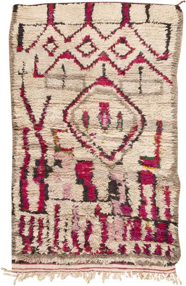 Tribal Vintage Ivory and Purple Moroccan Rug #45608 by Nazmiyal Antique Rugs