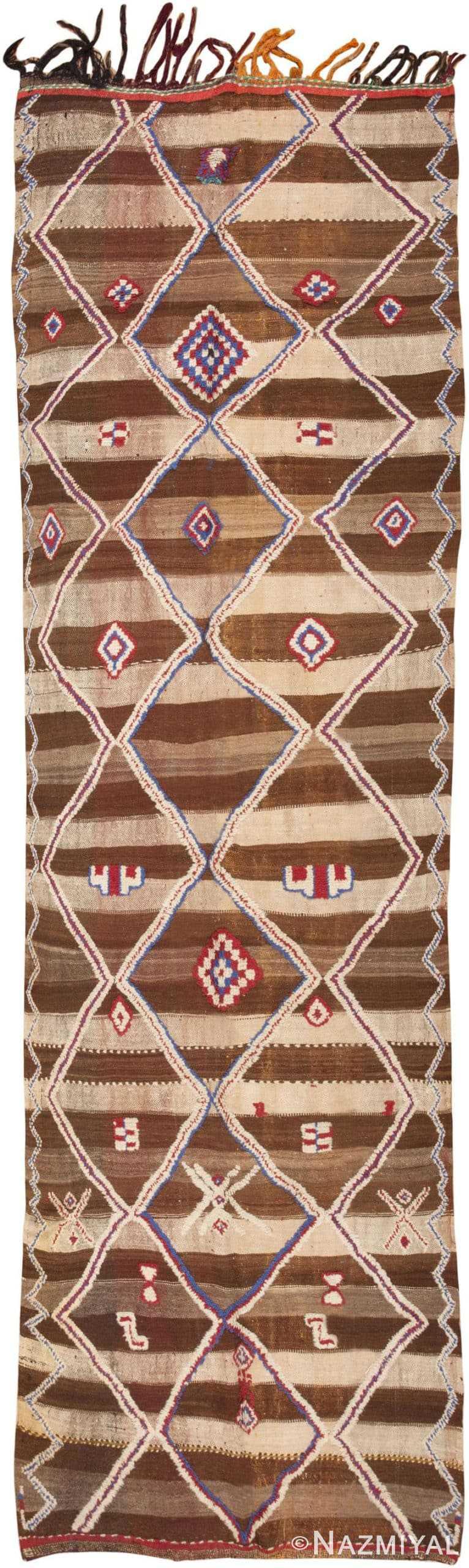 Long and Narrow Brown Vintage Moroccan Hall Runner Rug 45683 Nazmiyal