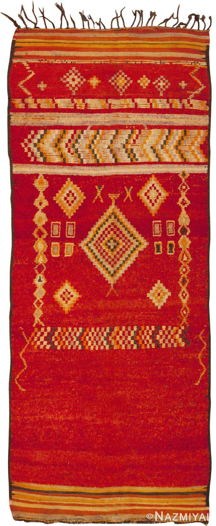 Long And Narrow Colorful Vintage Moroccan Rug 45686 Nazmiyal