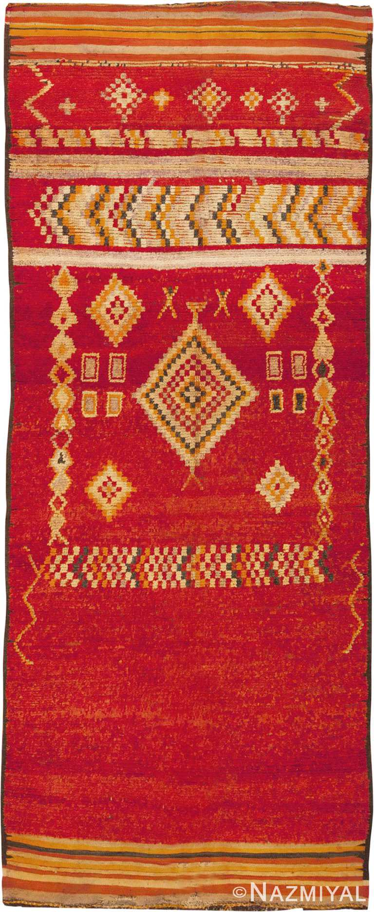 Vintage Red Long And Narrow Moroccan Rug #45686 by Nazmiyal Antique Rugs