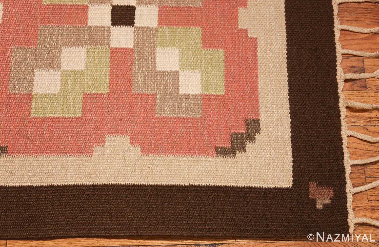vintage swedish kilim rug 45655 corner Nazmiyal