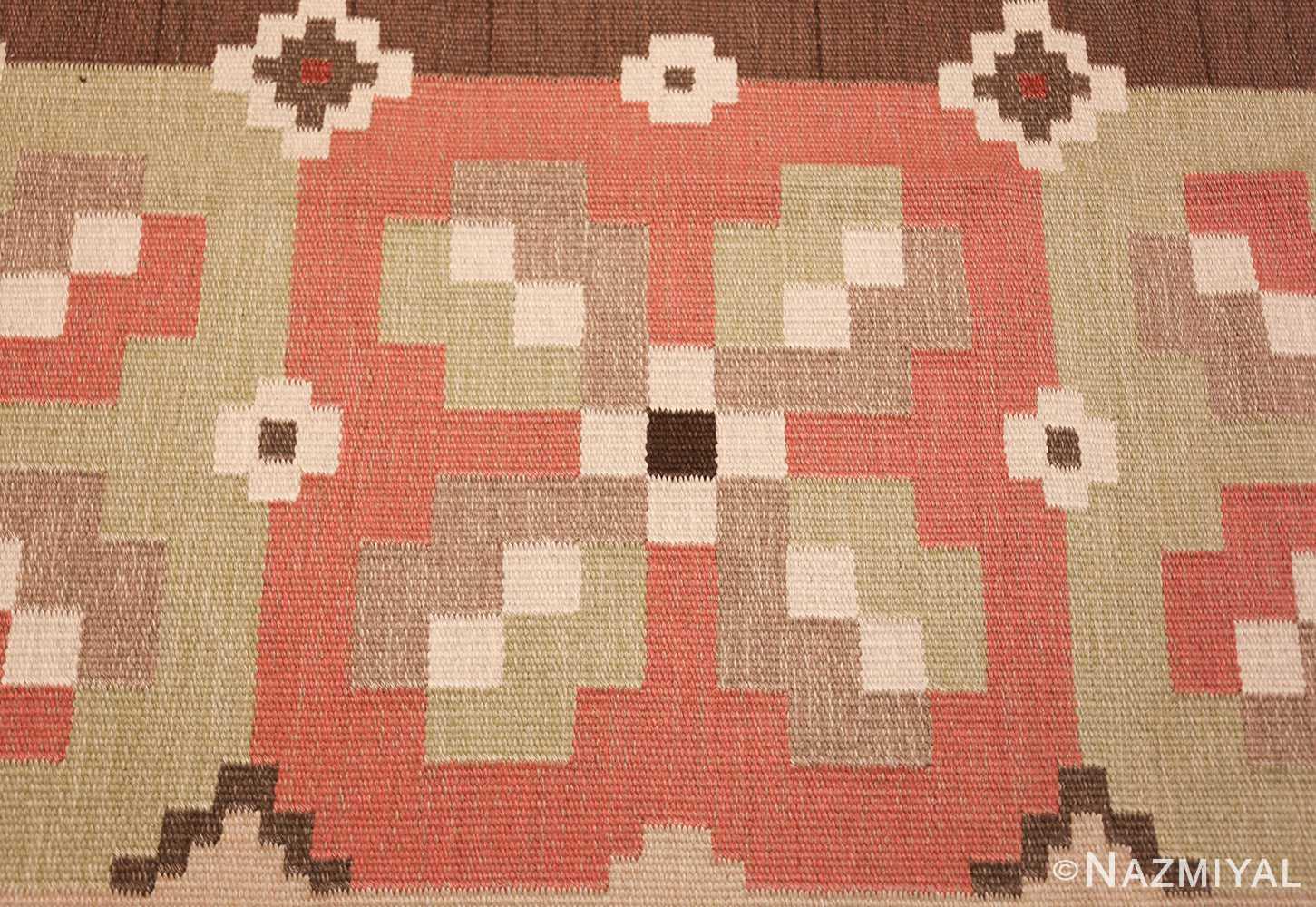 vintage swedish kilim rug 45655 design Nazmiyal