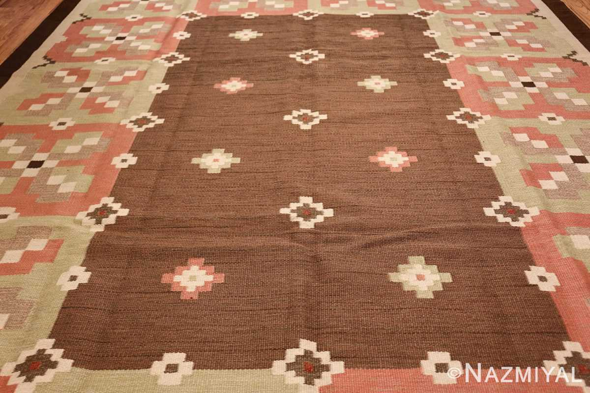 vintage swedish kilim rug 45655 field Nazmiyal