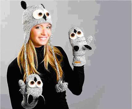 Knitted Animal Hat with Matching Mittens - Namziyal