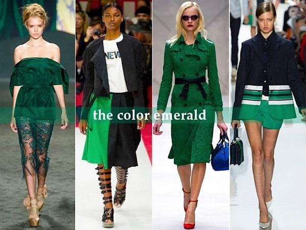 Fashion Runway Models Showcasing The Emerald Green Panton Color Of The Year - Nazmiyal