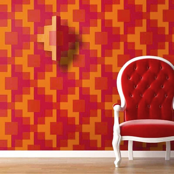 Geometric Red and Orange Living Room Interior Design Trends - Nazmiyal