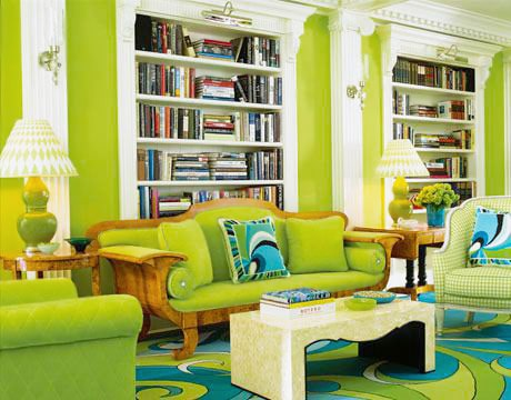 Green Colorful Living Room Interior Design Trends by nazmiyal