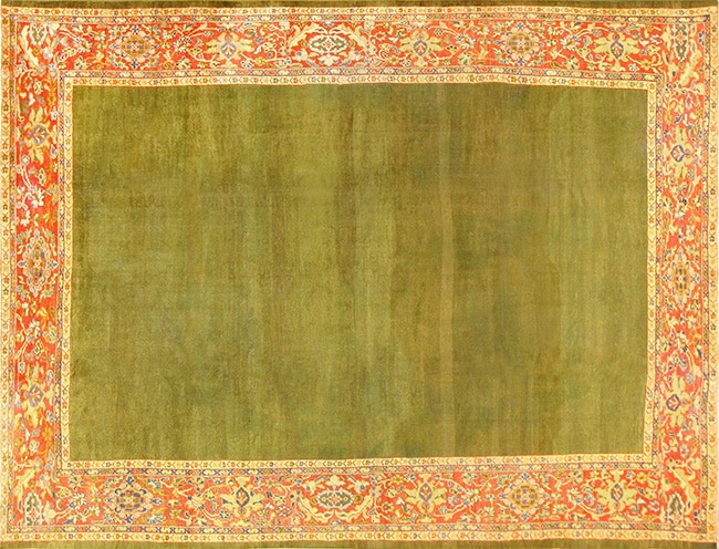 Green Sultanabad Rug For This Year's Panton Color Of The Year - Nazmiyal