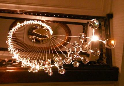 Modern Chandelier Spiral Crystal Orb by Nazmiyal