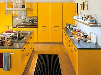 Saffron Yellow Modern Kitchen Interior Design - Nazmiyal