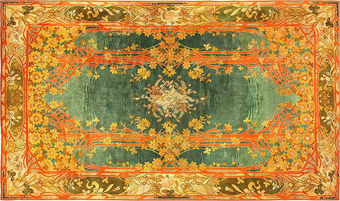 Tangerine Tango Colored Art Nouveau Irish Donegal Rug - Nazmiyal