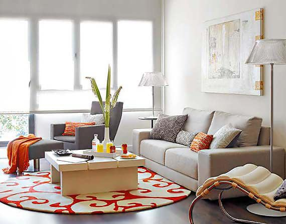 Tangerine Tango Color Accent Round Rug - Nazmiyal