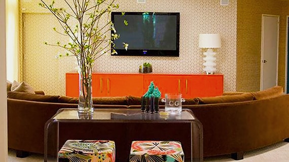 Tangerine Tango Colored Accent Table - Nazmiyal