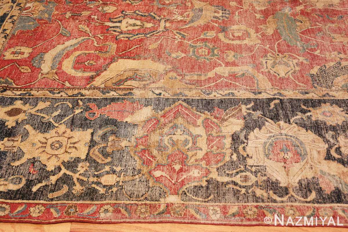 Border Oversized Antique 17th Century Persian Esfahan Oriental rug 44143 by Nazmiyal