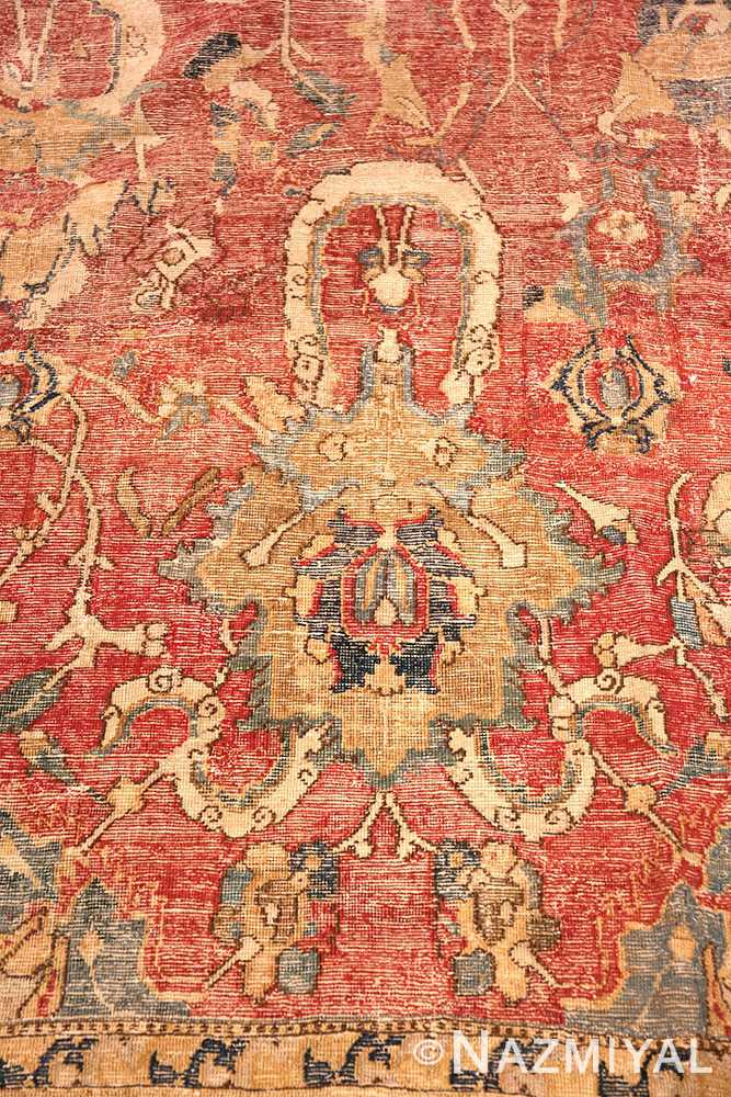 Close-up Oversized Antique 17th Century Persian Esfahan Oriental rug 44143 by Nazmiyal