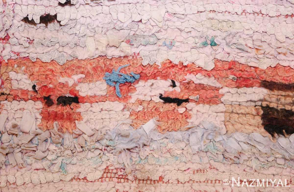 small vintage mid century rag texture moroccan carpet 45696 blue Nazmiyal