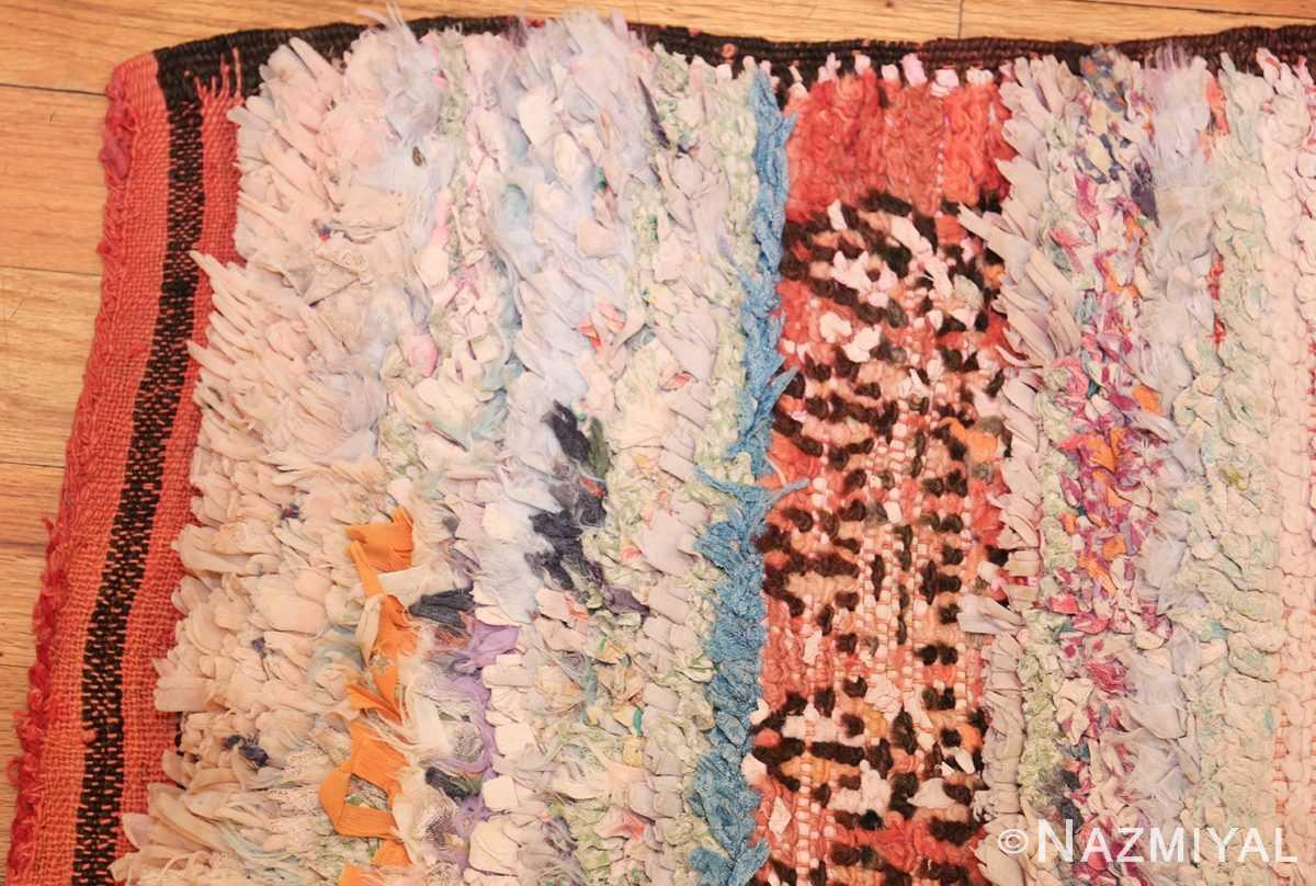 small vintage mid century rag texture moroccan carpet 45696 corner Nazmiyal