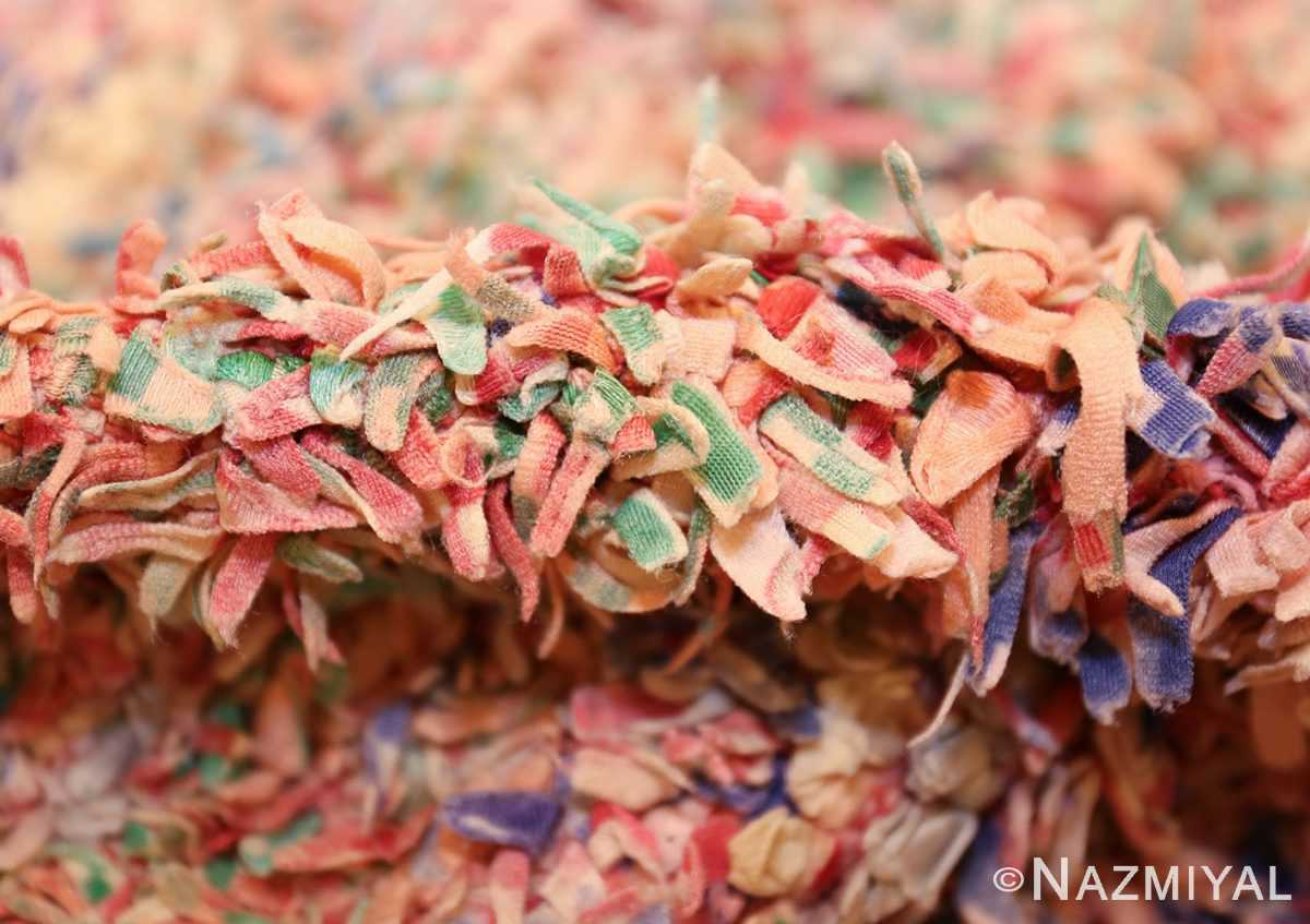small vintage mid century rag texture moroccan carpet 45696 pile Nazmiyal