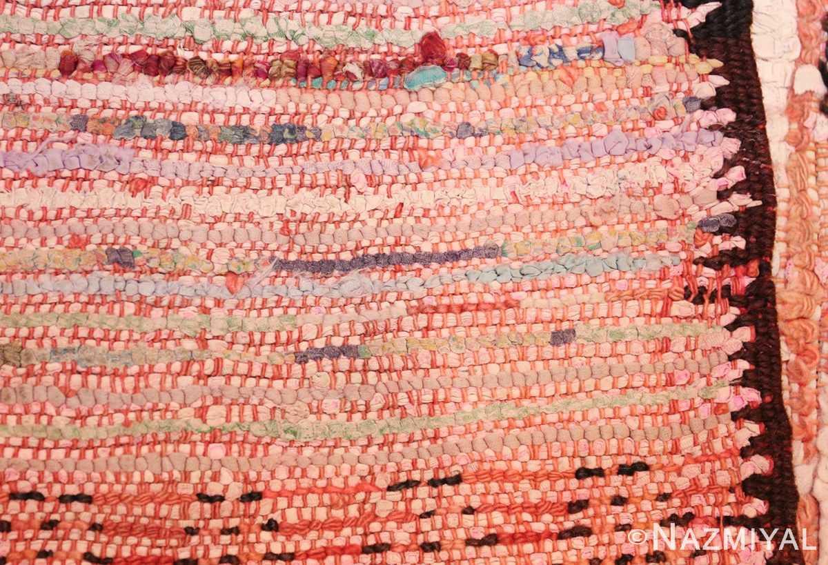 small vintage mid century rag texture moroccan carpet 45696 weave Nazmiyal