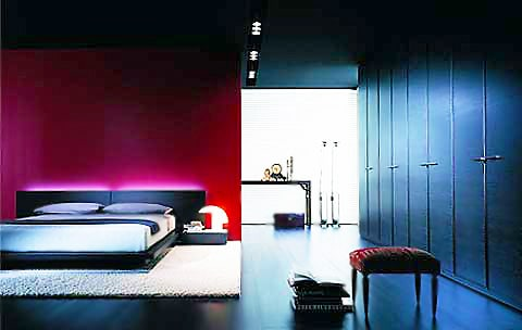 Black and Purple Bedroom Interior Design by Nazmiyal