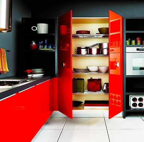 Black and Red Accented Kitchen Interior by Nazmiyal