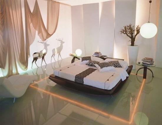 Eco Friendly LED Lighting Modern Bedroom Interior Design by Nazmiyal