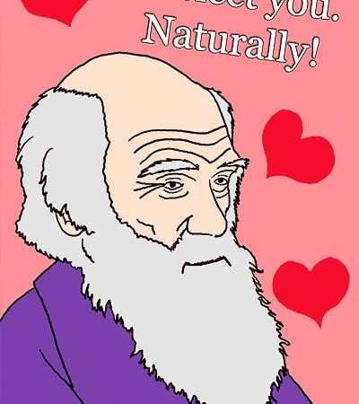 Funny Charles Darwin Inspired Naturalist Valentine's Day Card by Namziyal