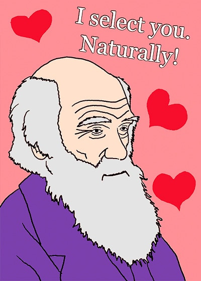 Funny Charles Darwin Inspired Naturalist Valentine's Day Card by Namziyal