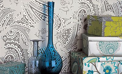 Geometric Paisley Design Modern Wallpaper Nazmiyal